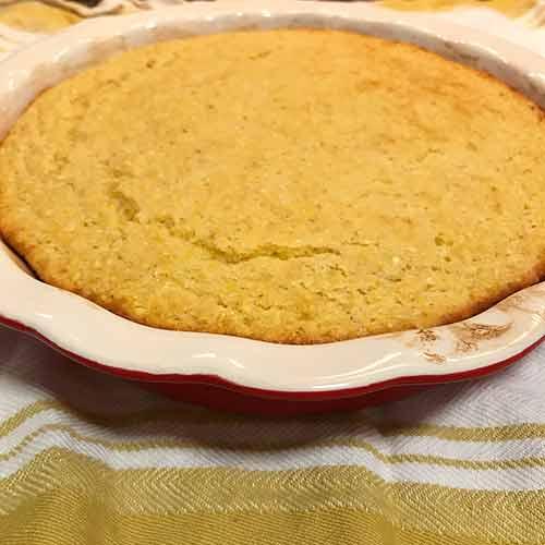Pie pan with warm cornbread inside
