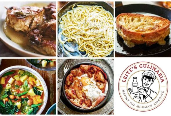A grid of five weeknight winners recipes including vinegar-glossed chicken, cacio e pepe, grilled cheese, a bowl of minestrone, patatas bravas, and an image of the Manny the Milkman logo.
