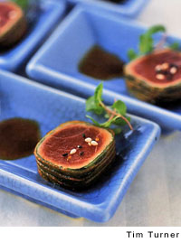 Ahi Tuna Cube with Toasted Black and White Sesame Seeds