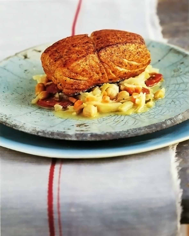 Pan-Roasted Halibut, Chickpeas and Chorizo