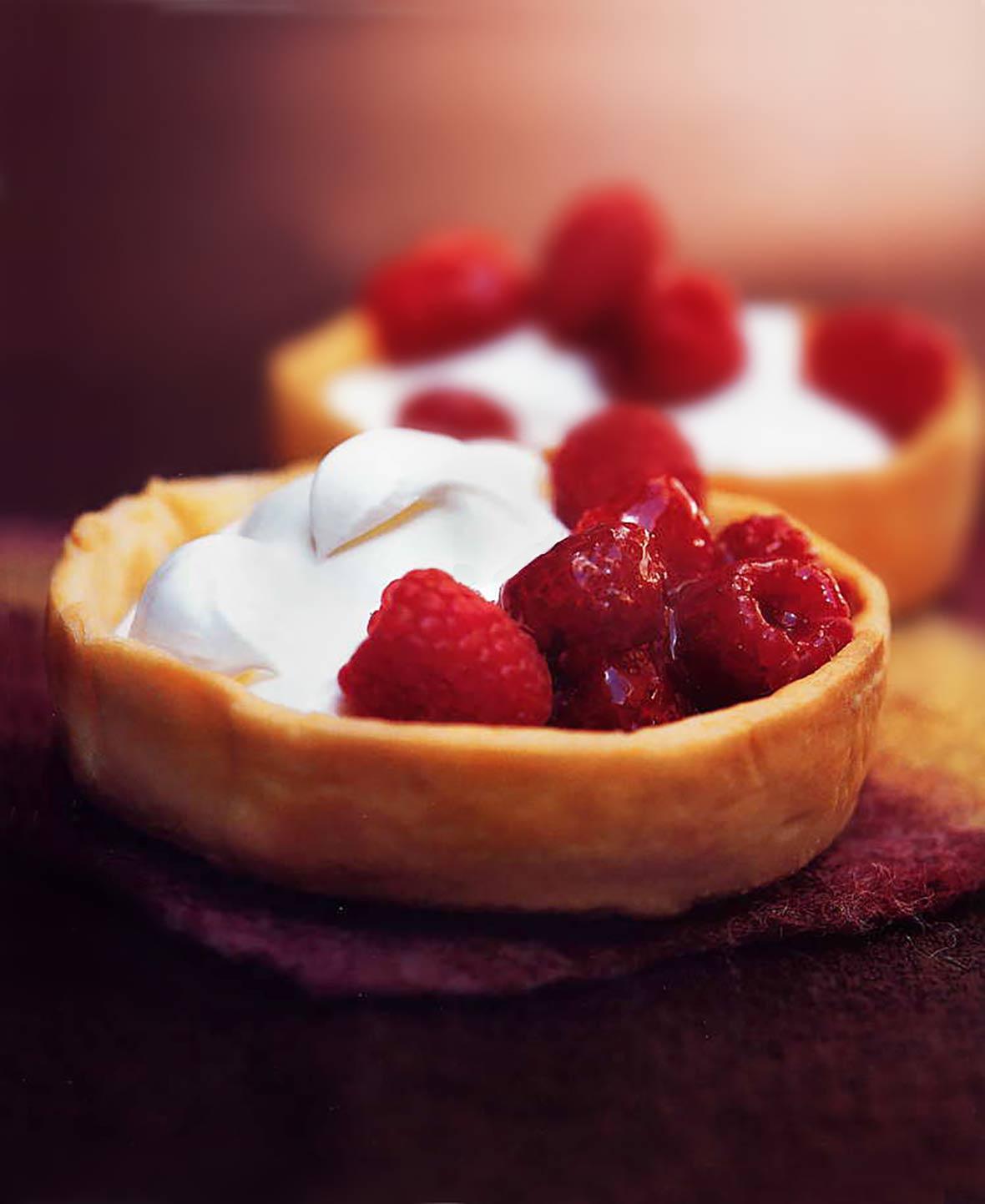 Raspberry-Honey Cream Tartlets