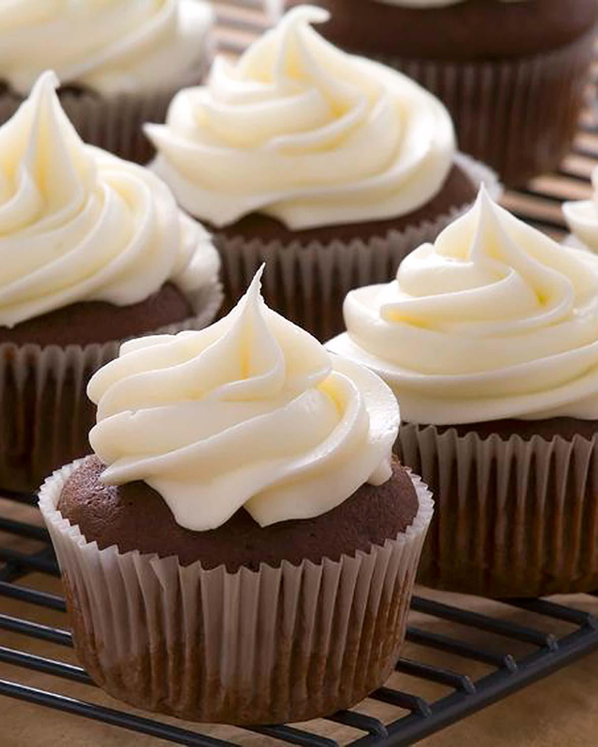 Espresso Cupcakes, Ganache, White Chocolate Frosting