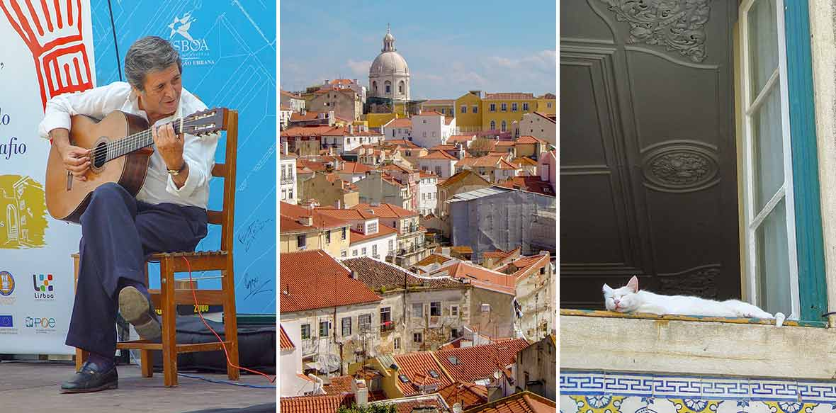 Three images--a male fado singer, the view of Lisbon roofs, a sleeping cat in a window