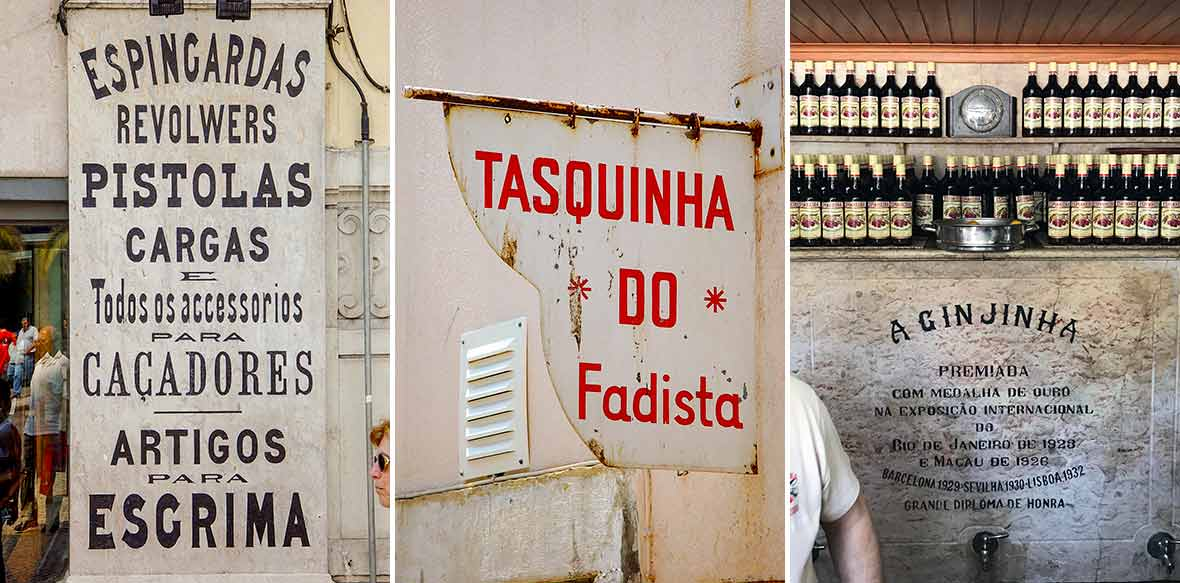 Three images--19th century ad for pistols, a sign for a tasquinha, the famous A Ginjinha