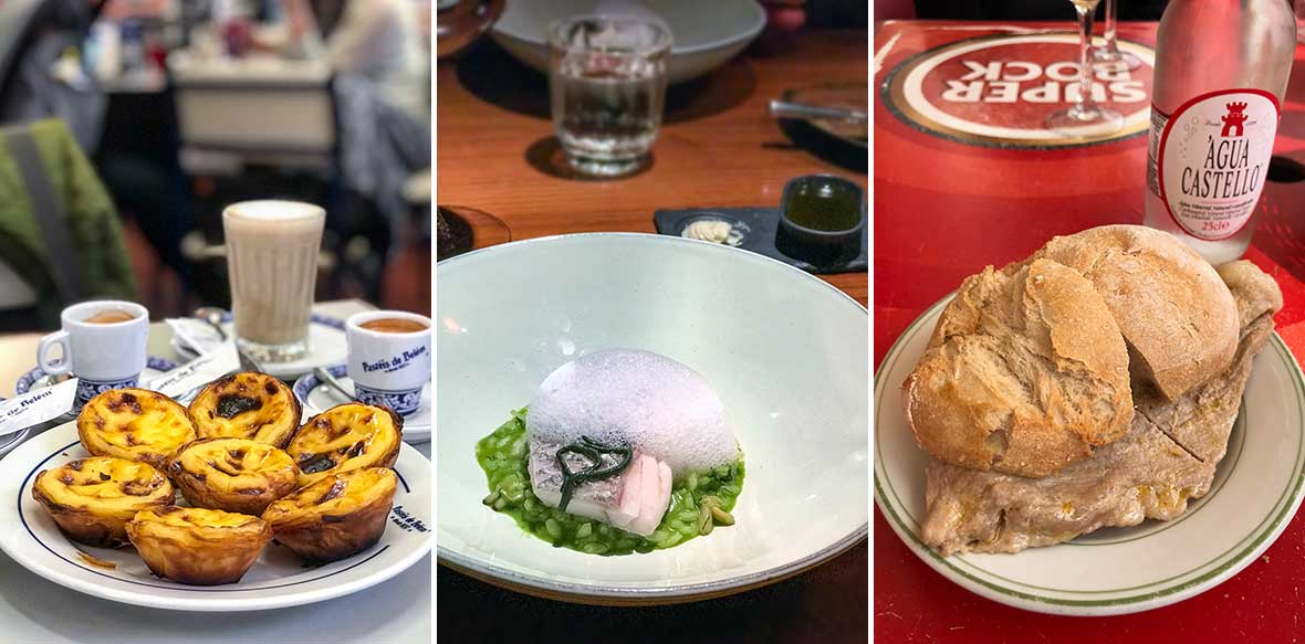 Three images--pastéis de nata, haute cuisine, bifana