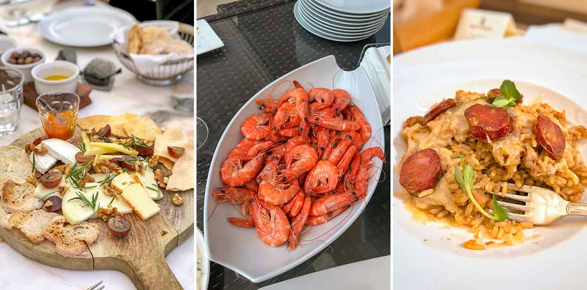Three images--Portuguese cheeses, steamed shrimp in shells, chouriço risotto