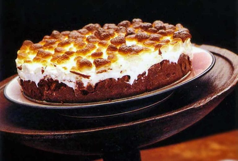 Mississippi mud cake topped with toasted marshmallow in a wooden cake stand