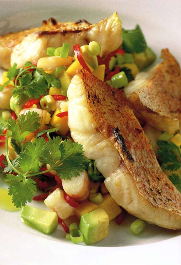 Grilled Snapper with Mango and Shrimp Salsa