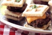 Mini-Cheeseburgers with Waffled Bread