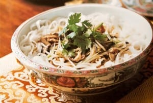 Rice Noodles with Mushrooms and Ham