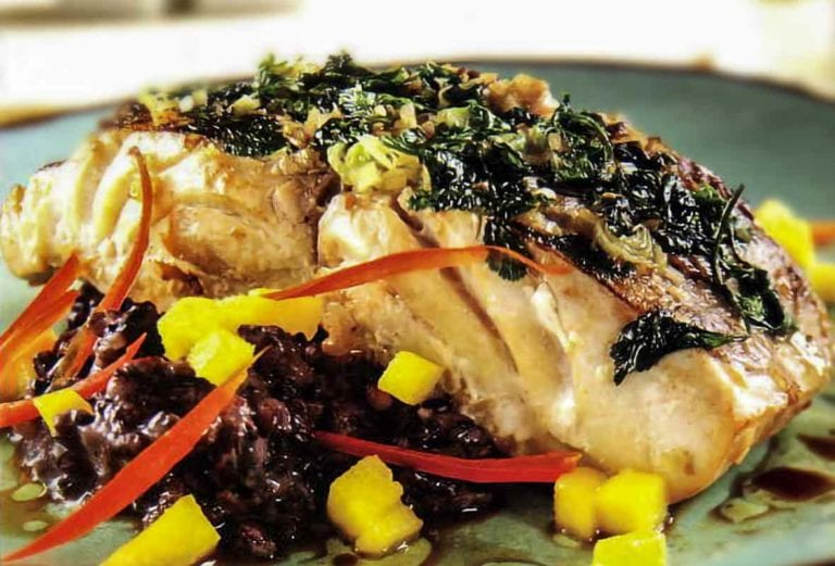 Ehu with a lemongrass-cilantro crust on a ned of black rice and diced mango