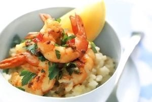 Citrus Risotto with Garlic-Chile Prawns