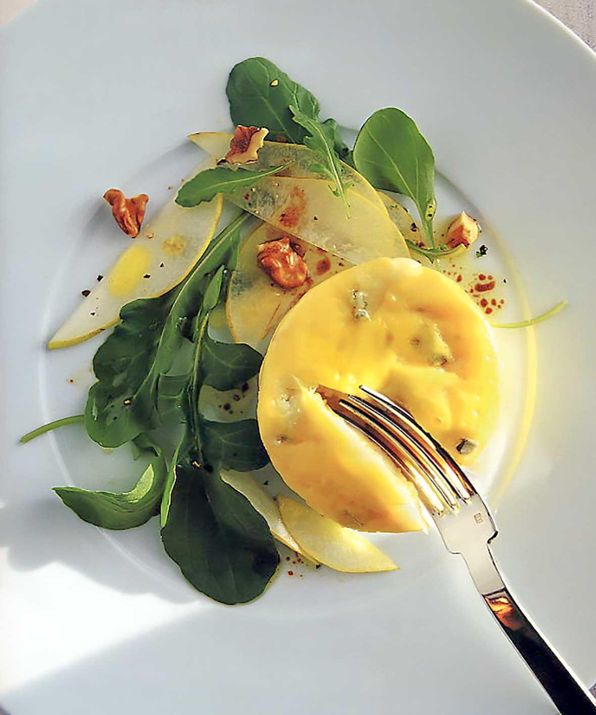 Gorgonzola Custards with Pears