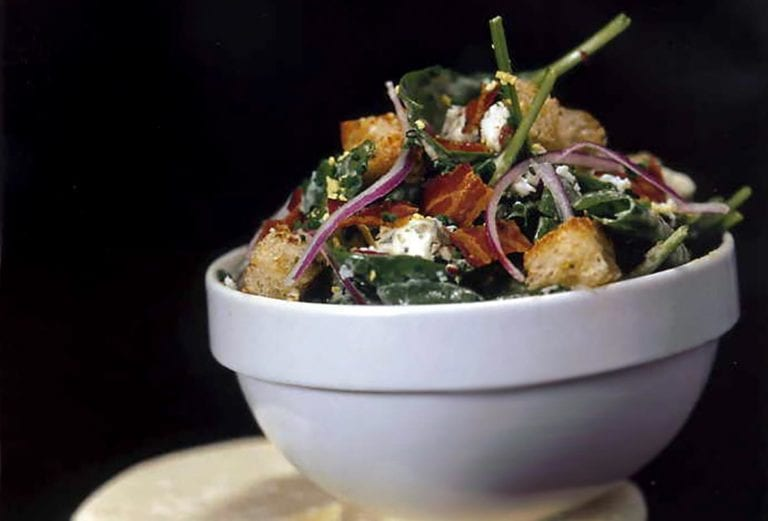 Spinach-Bacon Salad with Caesar Dressing