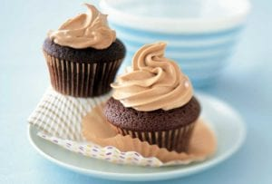 Chocolate Mayonnaise Cupcakes with Caramel-Butterscotch Frosting