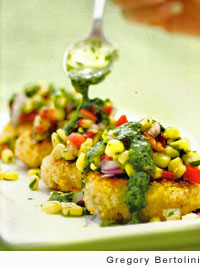 Salmon Cakes with Chipotle-Corn Salsa