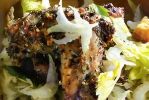 Roasted Rabbit with Shaved Celery and Fried Bread Salad