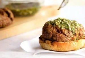 Olive-Lamb Burger with Mint Gremolata