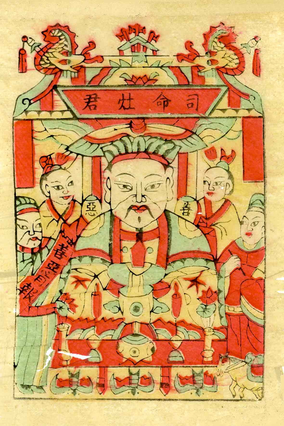 An ancient woodcut of the Chinese Kitchen God sitting in his pavilion surrounded by four Chinese men