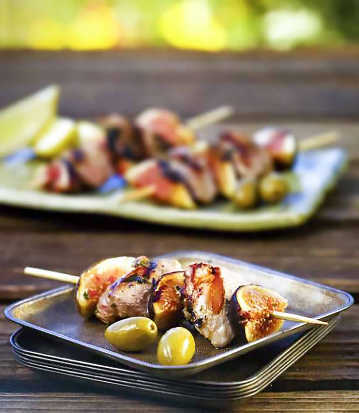 Duck, Olive, and Fig Skewers