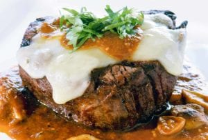 Beef Tenderloin, Shiitakes, Chile-Tomatillo Sauce