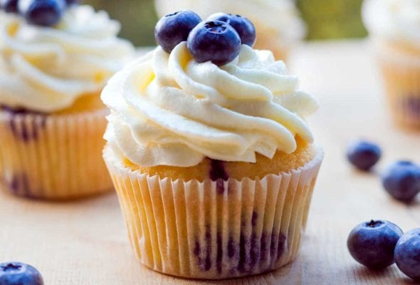 Several blueberry cupcakes topped with whipped cream and fresh blueberries.