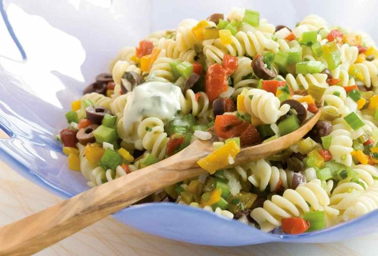 Confetti Pasta Salad with Yogurt Dressing