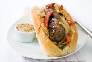Grilled Bratwurst with Onions and Peppers