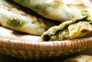 Grilled Cilantro-Mint Naan