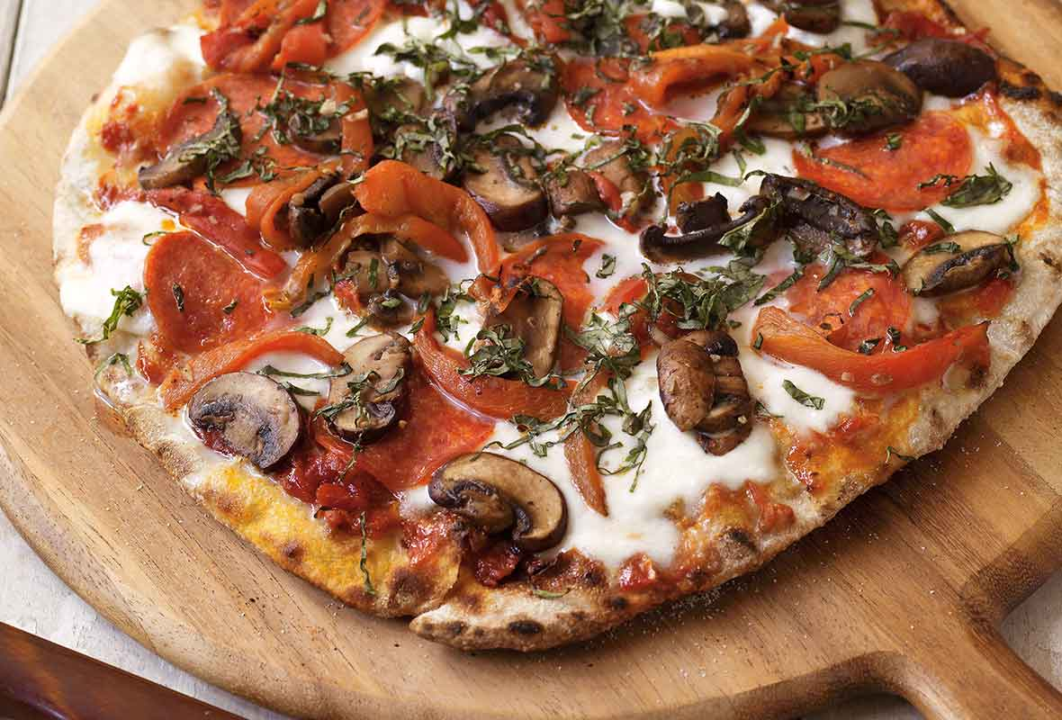 Grilled Pizza with Pepperoni and Mushrooms