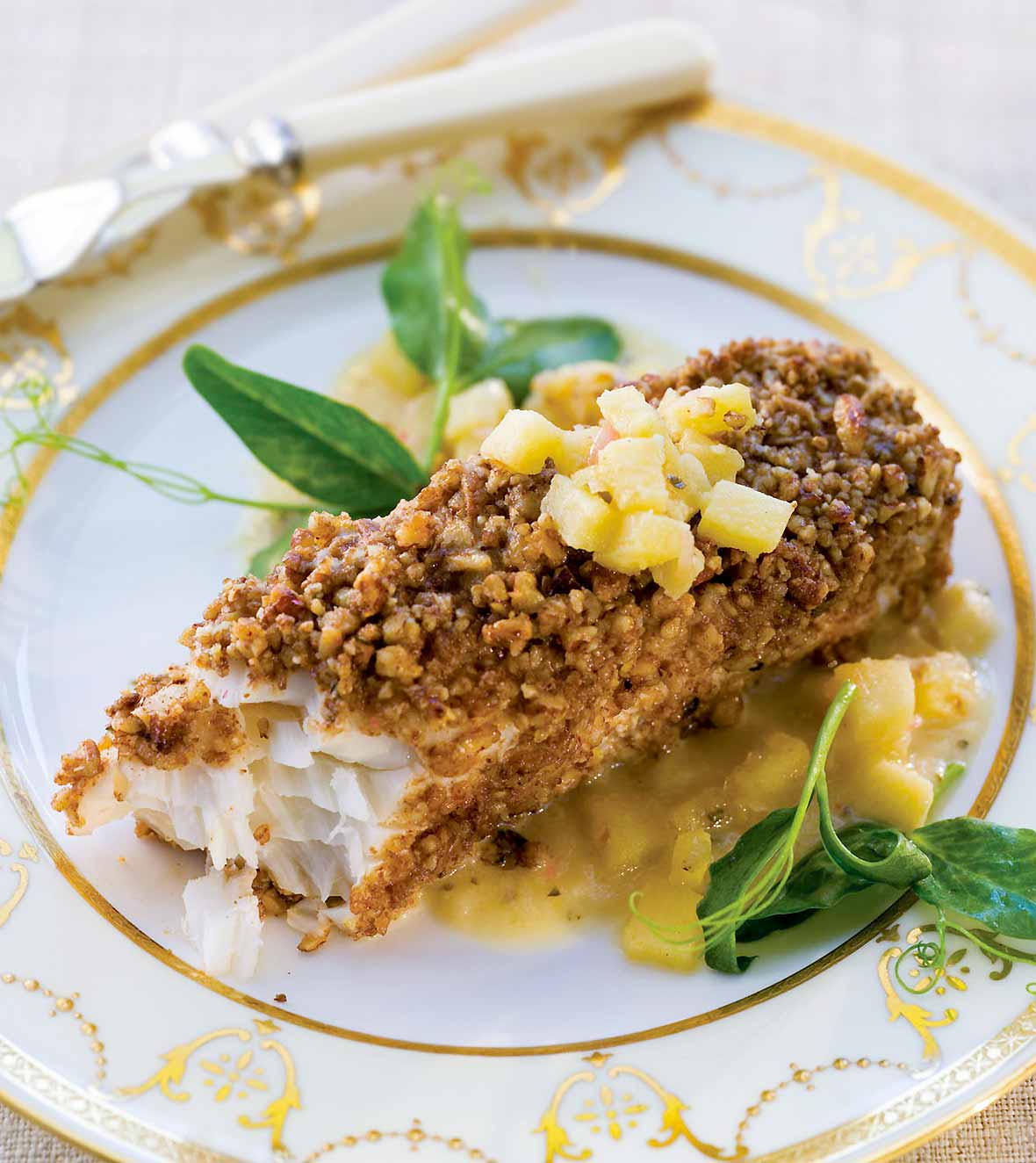 Halibut with Nut Crust, Apple Vinaigrette