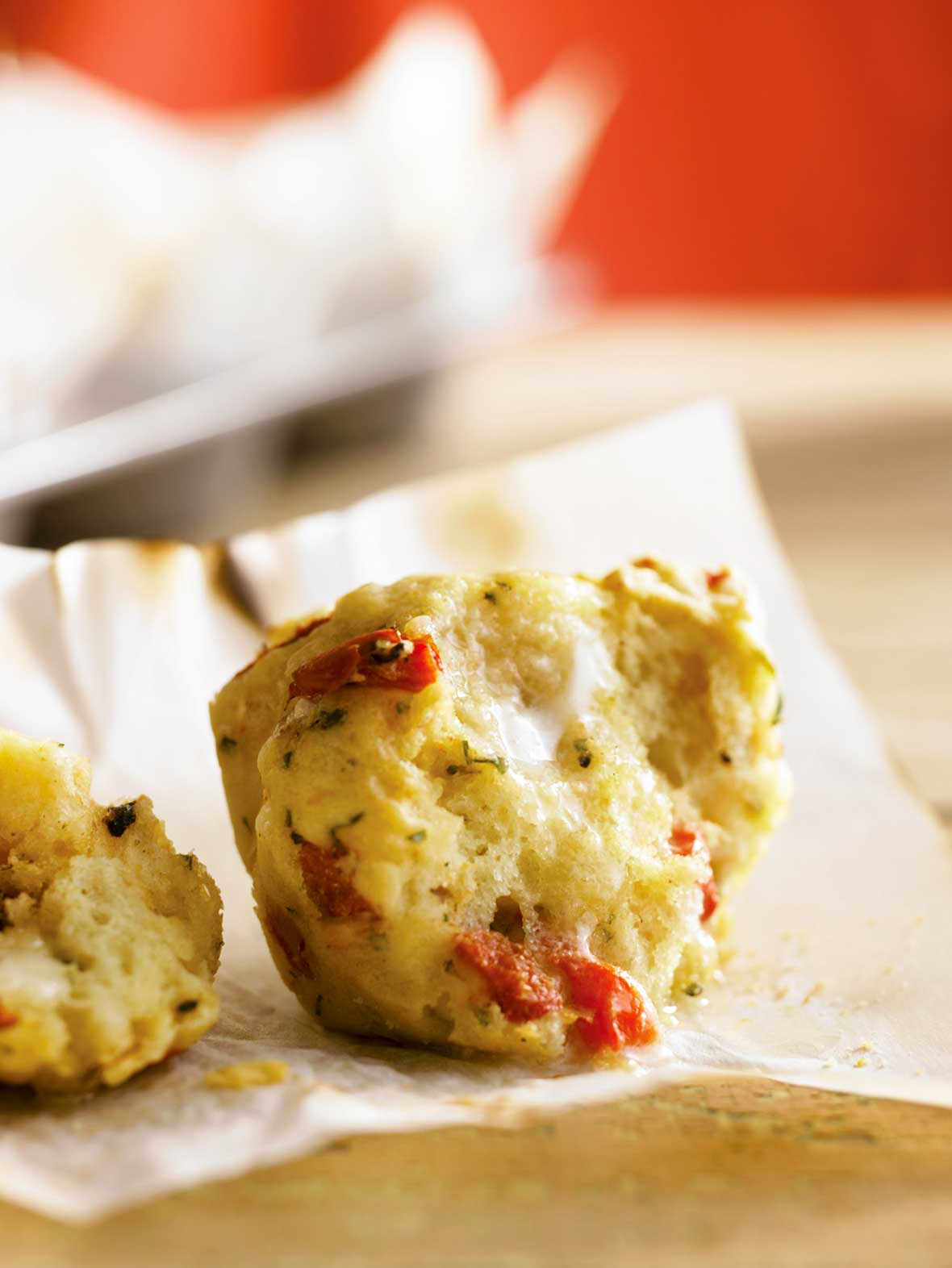 Feta, Roasted Pepper, Basil Muffins