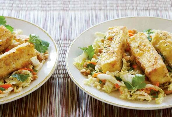 Two plates of warm cabbage salad with fried tofu, carrots, cilantro on woven placemats