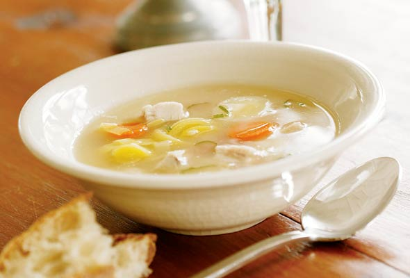 Turkey Soup with Ginger, Lemon, and Mint