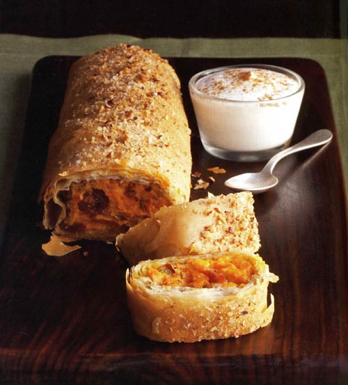 Sweet Potato, Golden Raisin, and Cranberry Strudel