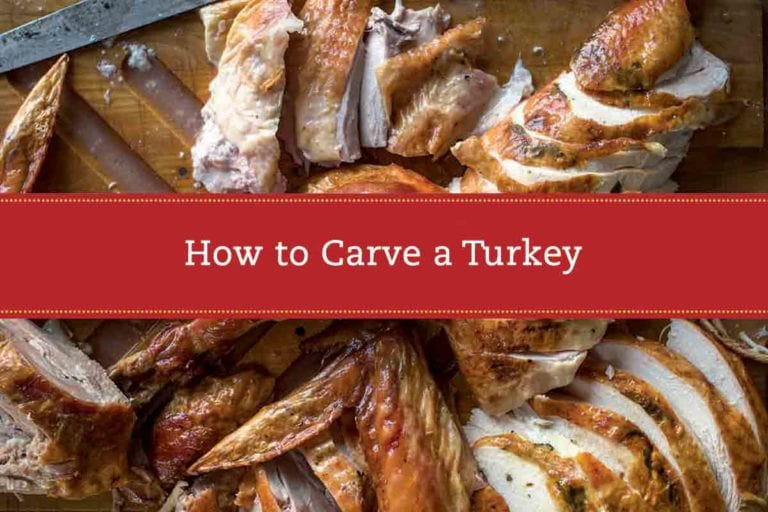 A carved turkey on a cutting board with a label reading 'How to Carve a Turkey' overlaid on the image.