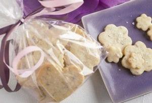 A purple plate with lavender fleur de sel shortbread