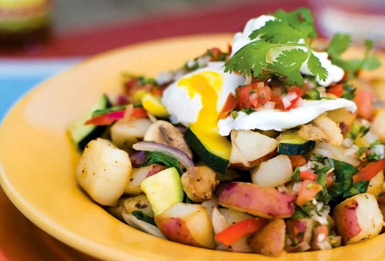 New Potato Hash and Poached Eggs