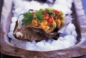 Oysters with Sweet Pepper Relish
