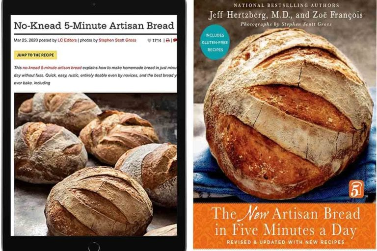 An ipad with an artisan bread recipe and a artisan bread cookbook side by side in the debate of computers or cookbooks.