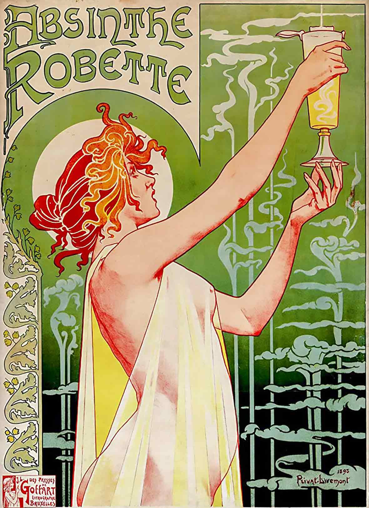 Vintage drawing of a woman holding up a glass of absinthe