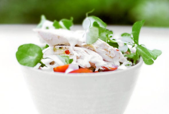 Chicken-Pea Shoot Salad