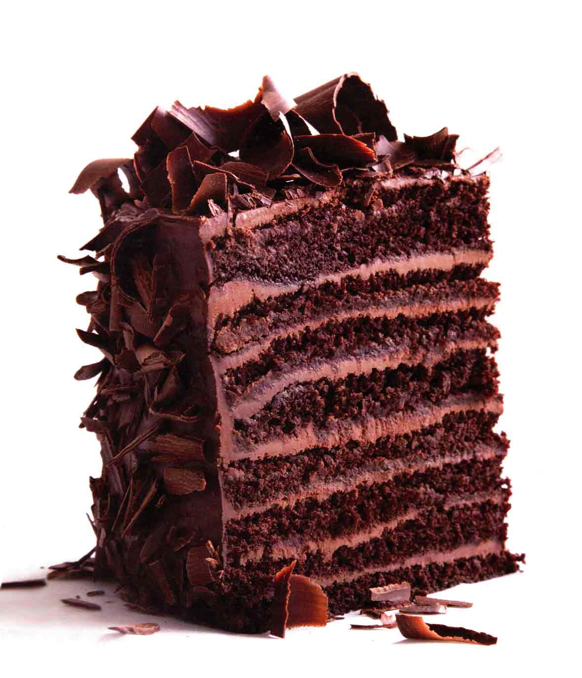 A 16-layer red-eye devil's food cake--alternating layer of chocolate cake and chocolate frosting
