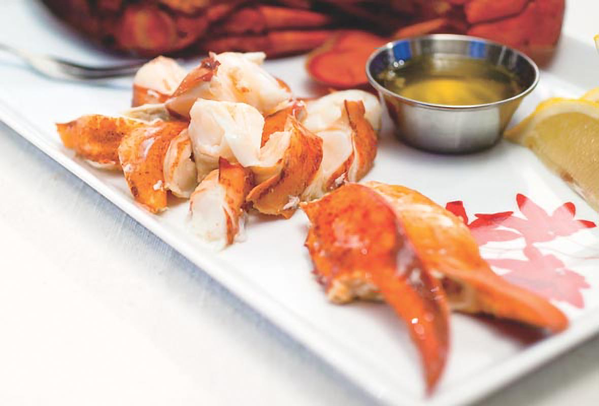 A what plate with steamed lobster with drawn butter--claws, knuckles, and tail meat