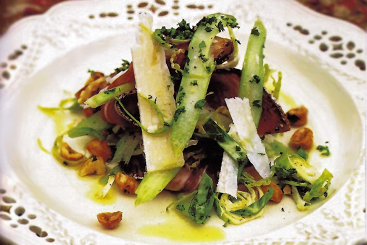 Shaved Brussels Sprouts, Aged Pecorino, and Prosciutto Recipe