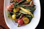 Radishes, carrots, squash, green bean in a jumble of pickled spring vegetables with mustard-seed vinaigrette.