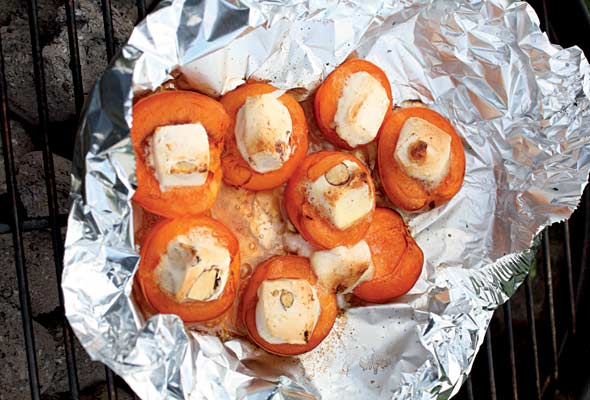 Grilled Apricots with Melted Nougat