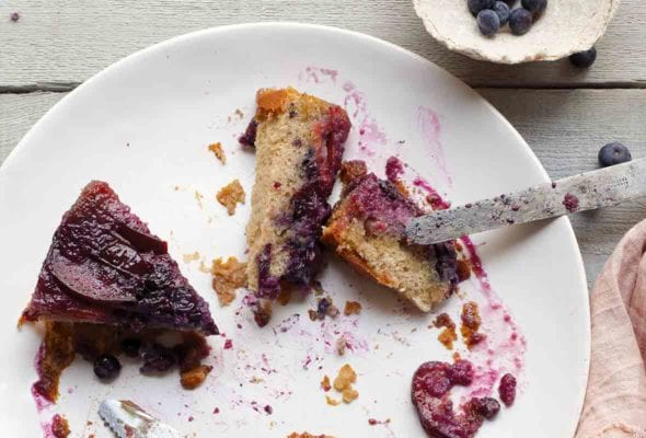 Plum-Blueberry Upside-Down Cake