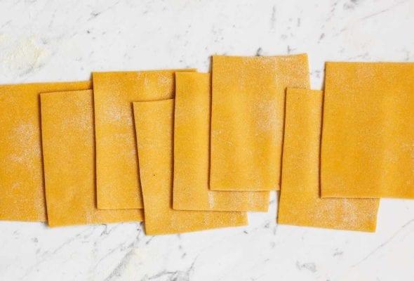 Rectangles of pumpkin pasta dough