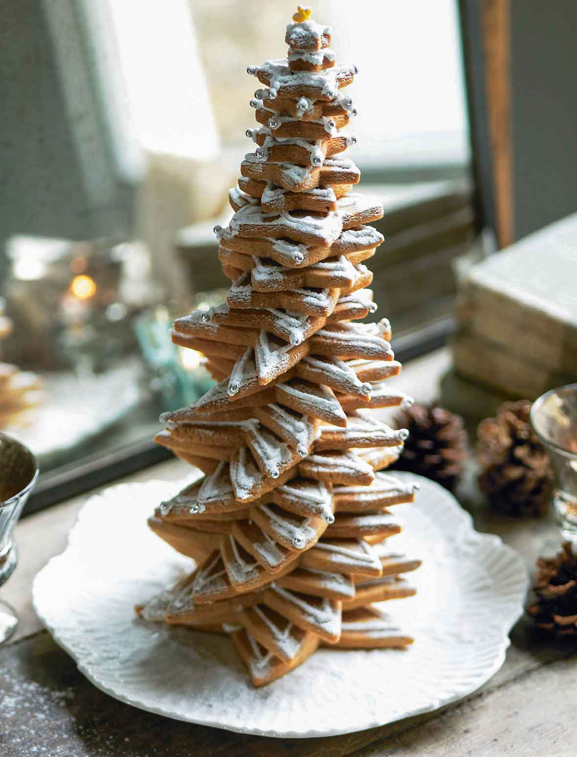 A Christmas tree made of decorated cookies